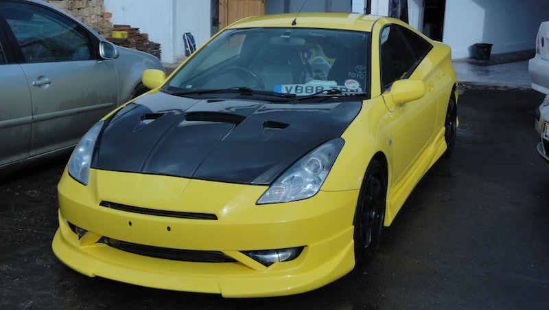 Supercharged Toyota Celica after bodykit fitting and spray job in London
