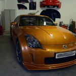 Nissan 350z orange accident repair at rt performance in london